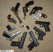 A circle of handguns representing common semi-automatic and revolvers that are commonly purchased and used in the U.S.